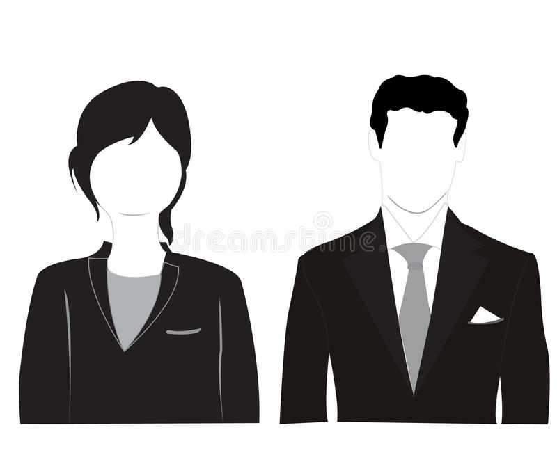 Silhuetas masculinas e femininos no fundo branco ilustração do vetor