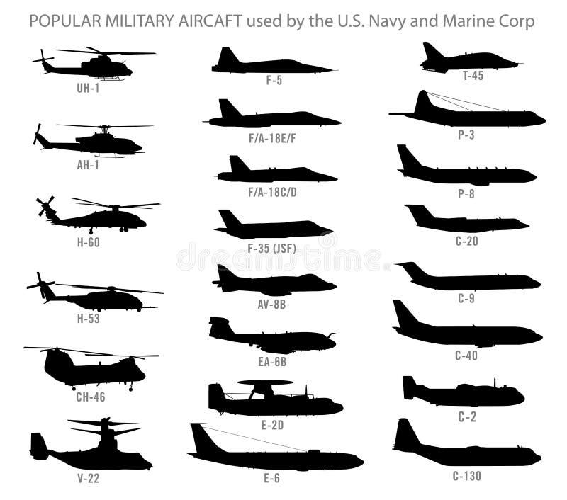 Silhuetas modernas do avião militar ilustração do vetor