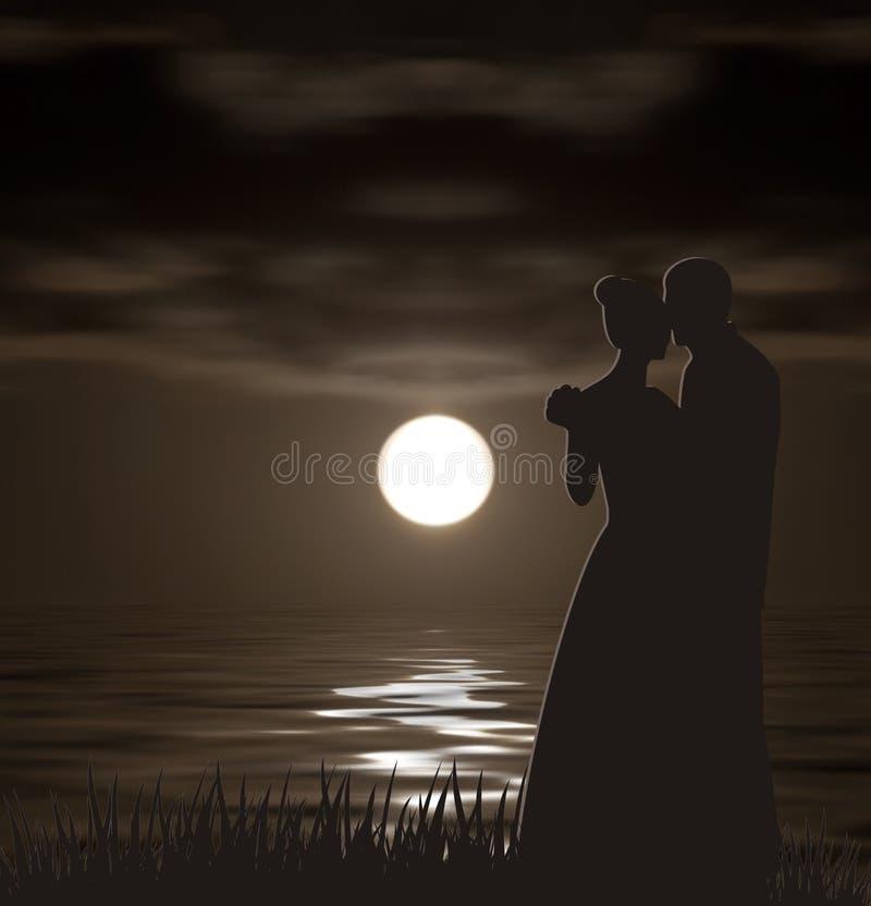 Silhuetas na paisagem da noite ilustração do vetor