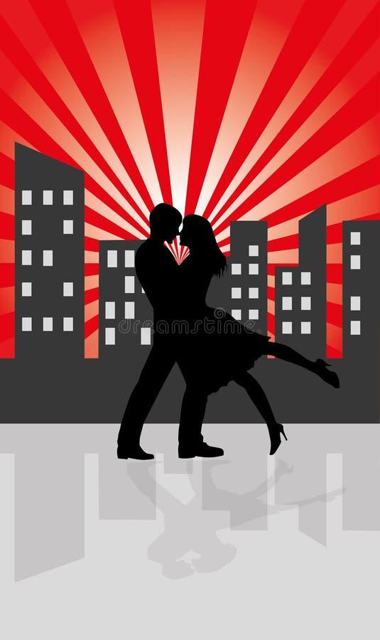 Silhuetas no amor ilustração do vetor