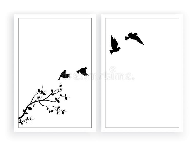 Silhuetas no vetor do ramo, decalques dos pássaros de voo da parede, decoração da parede, projeto do cartaz isolada no fundo bran ilustração do vetor