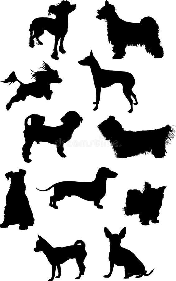 Silhuetas pequenas dos cães ilustração stock