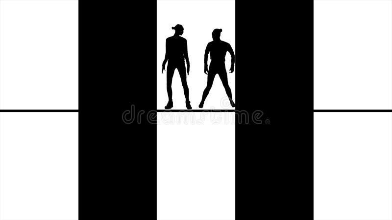 Silhuetas pretas abstratas que dançam, saltando, e movendo-se nas janelas, monocromáticas Figuras pretas dos povos dentro atrás ilustração do vetor