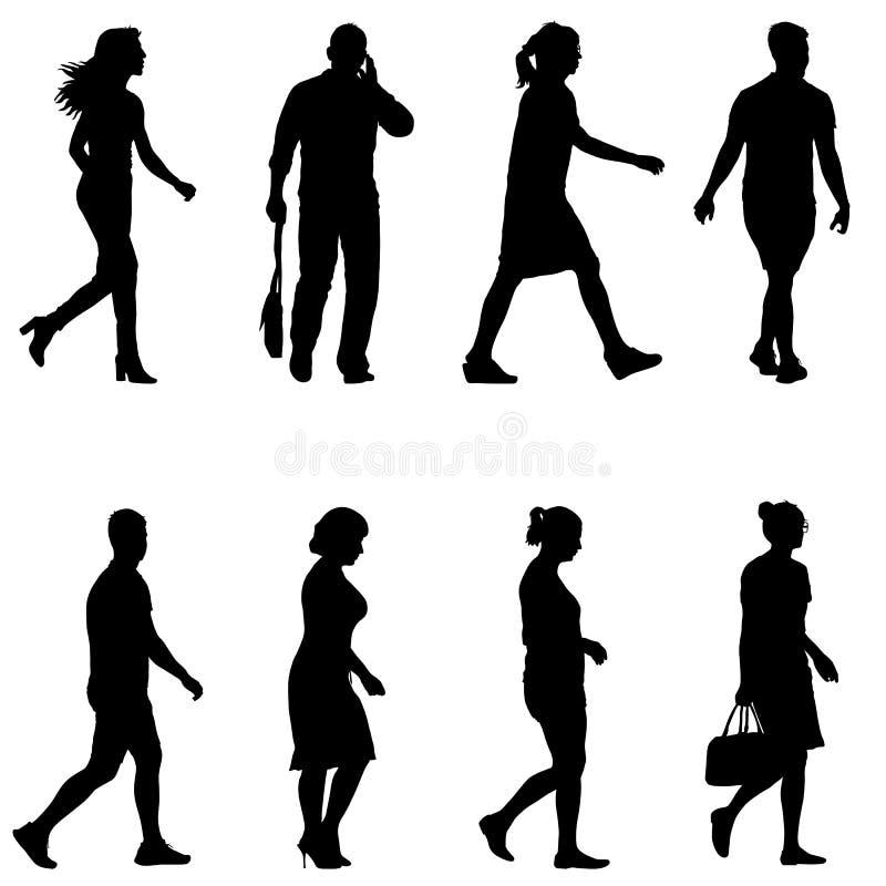 Silhuetas pretas ajustadas do homem e da mulher bonitos no fundo branco Ilustração do vetor ilustração royalty free