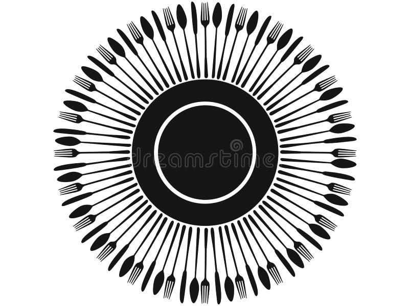 Silhuetas pretas da cutelaria em torno da placa ilustração royalty free