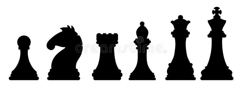 Silhuetas pretas das partes de xadrez Imagem do conceito do jogo ilustração royalty free