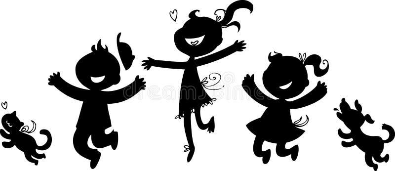 Silhuetas pretas de crianças felizes ilustração stock