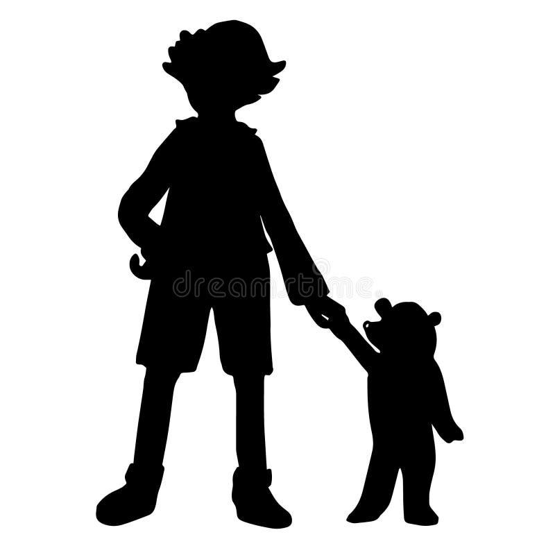 Silhuetas pretas de um menino e de um urso pequeno ilustração royalty free