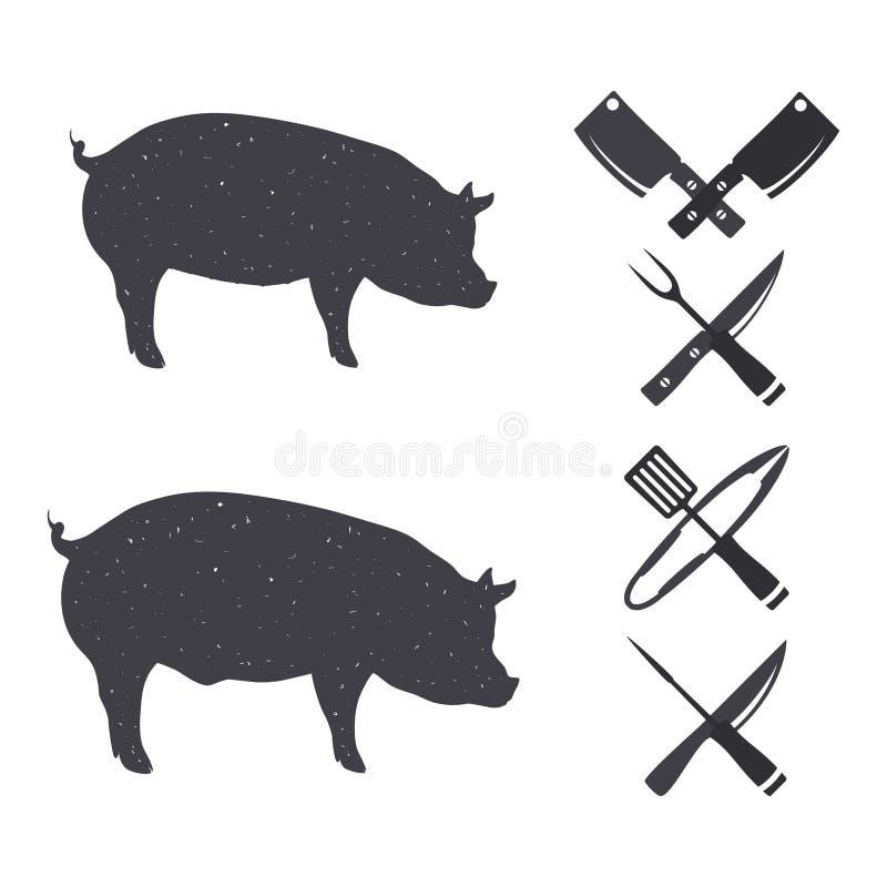 Silhuetas pretas de um porco e de um porco fotos de stock royalty free