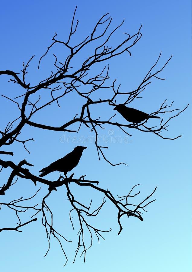 Silhuetas pretas do vetor de dois pássaros que sentam-se em um ramo em azul foto de stock royalty free