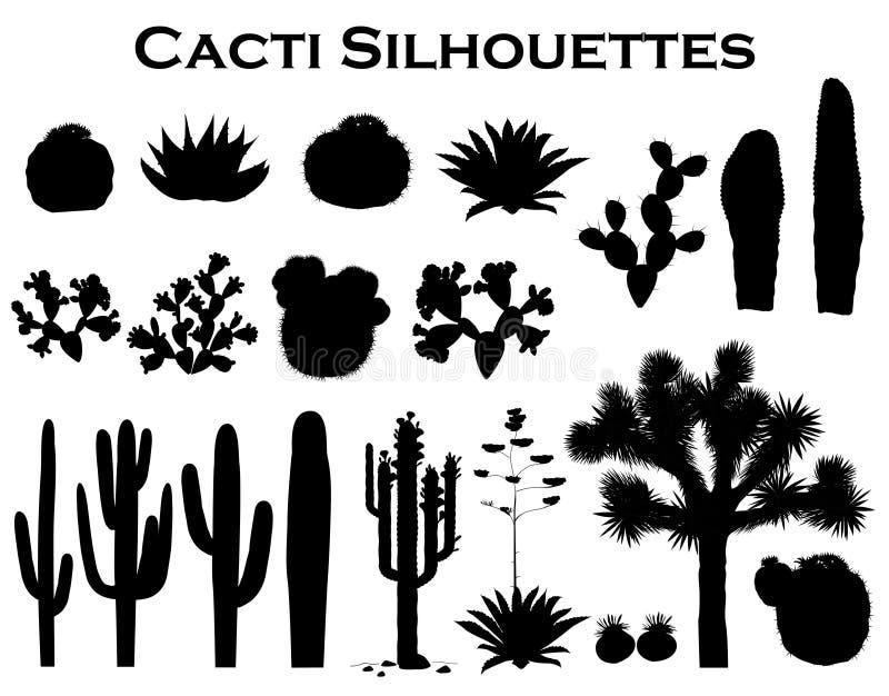 Silhuetas pretas dos cactos, da agave, da árvore de joshua, e da pera espinhosa Ilustração do vetor ilustração royalty free