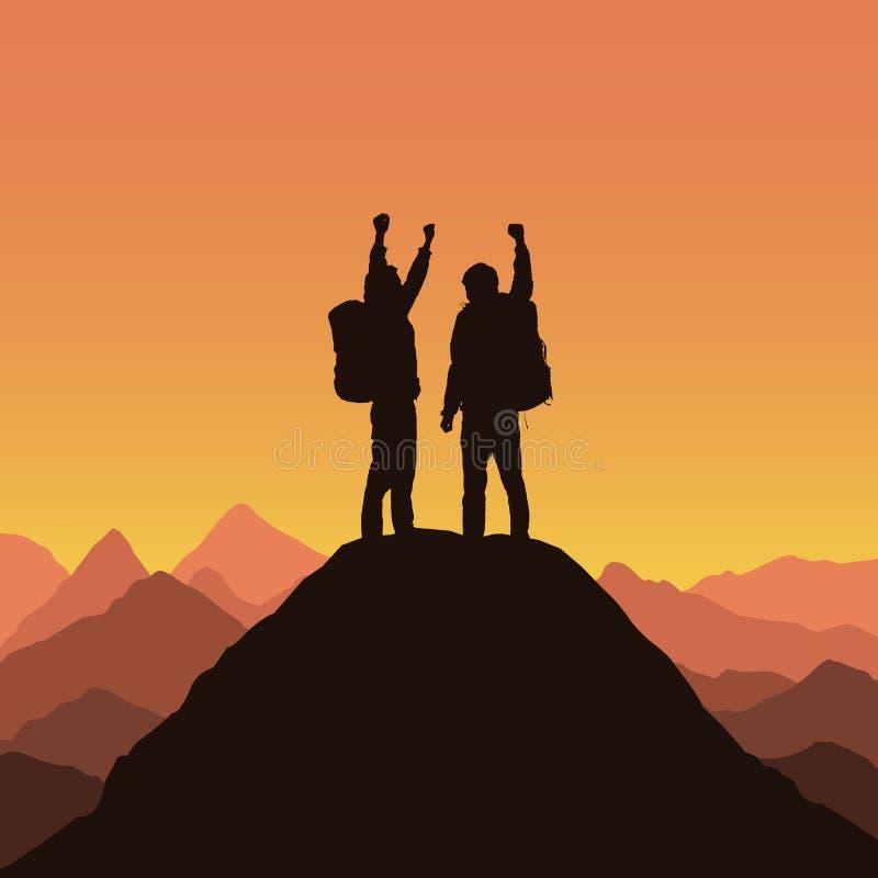 Silhuetas realísticas de dois montanhistas de montanha ilustração stock