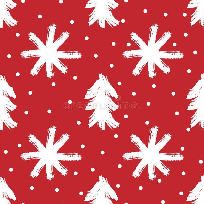 Silhuetas repetidas das árvores e dos flocos de neve pintados com escova áspera Teste padrão sem emenda do ano novo ilustração do vetor