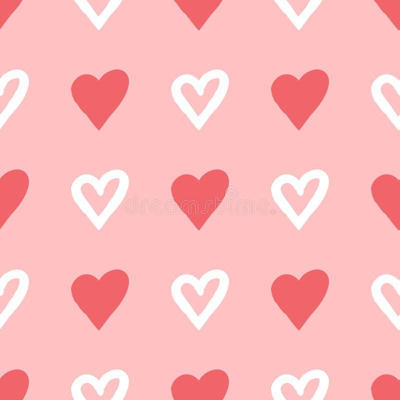 Silhuetas repetidas e escova tirada contornos do coração Teste padrão sem emenda ilustração royalty free
