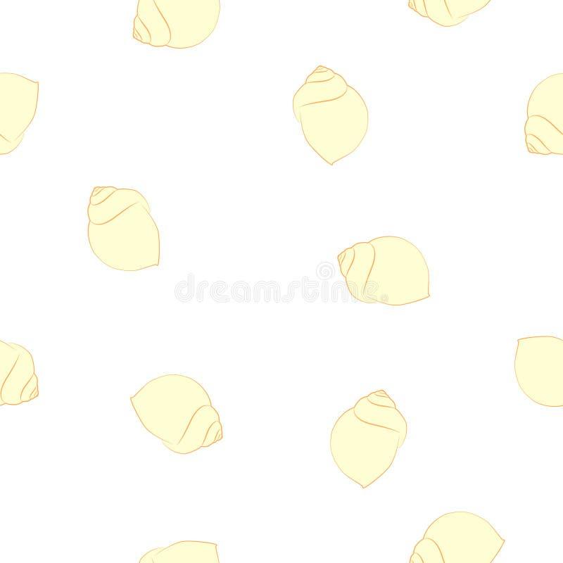 Silhuetas sem emenda das conchas do mar do amarelo do teste padrão no branco ilustração stock