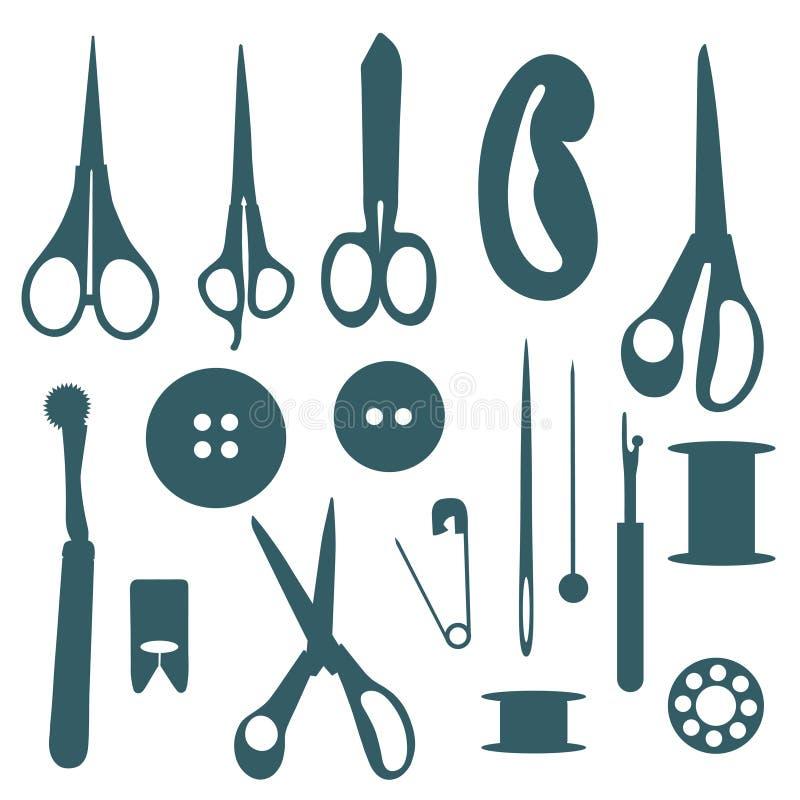 Silhuetas Sewing dos objetos ajustadas. ilustração do vetor