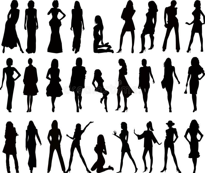 Silhuetas 'sexy' da mulher - vetor ilustração royalty free