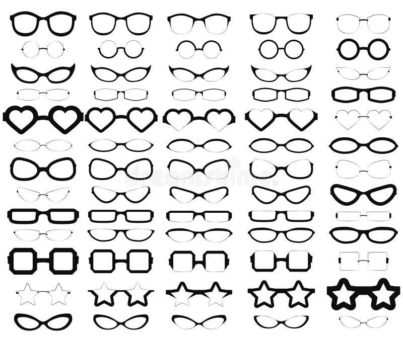 65 silhuetas sortidos dos vidros ilustração stock