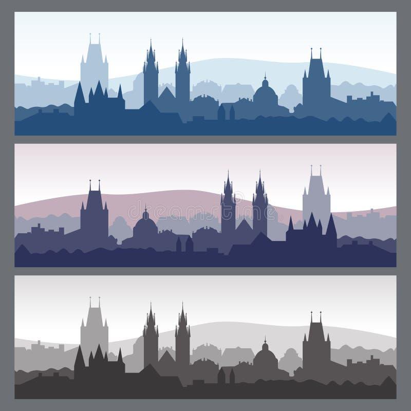 Silhuetas velhas da cidade ajustadas Skylines sem emenda da cidade em cores diferentes ilustração stock