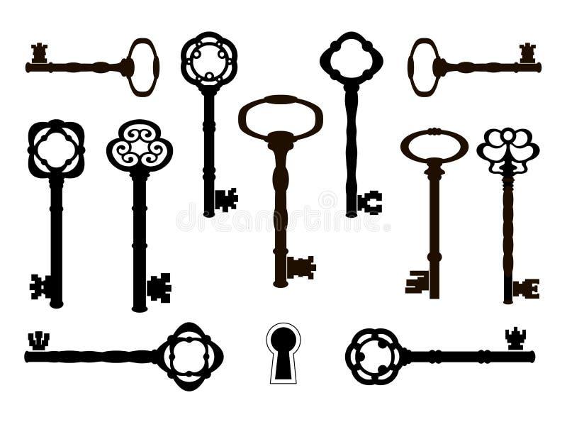 Silhuetas velhas das chaves Projeto retro ilustração royalty free