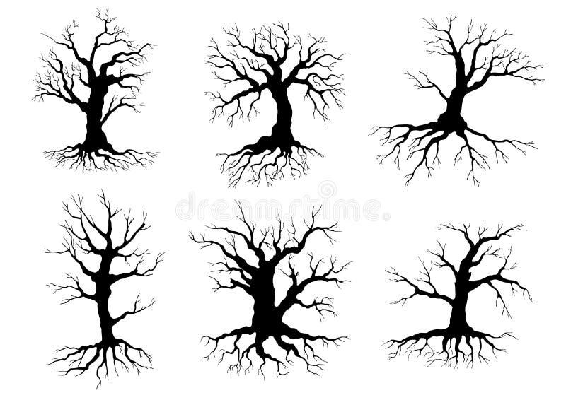 Silhuetas velhas dos ícones da árvore com raizes ilustração do vetor