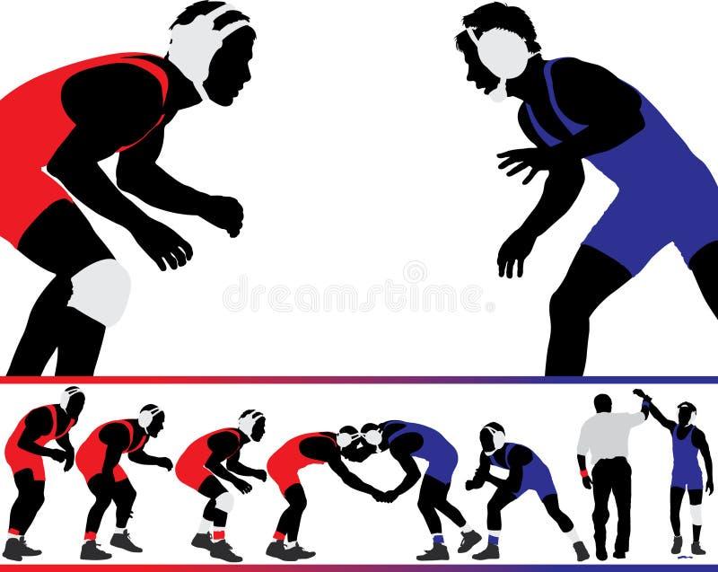 Silhuetas Wrestling do vetor ilustração stock