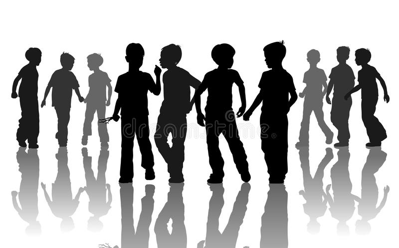 Silhuets of boys stock illustration