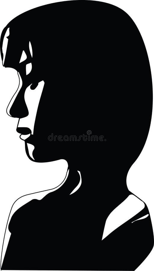 Silhuette哀伤的妇女面孔边外形  库存例证