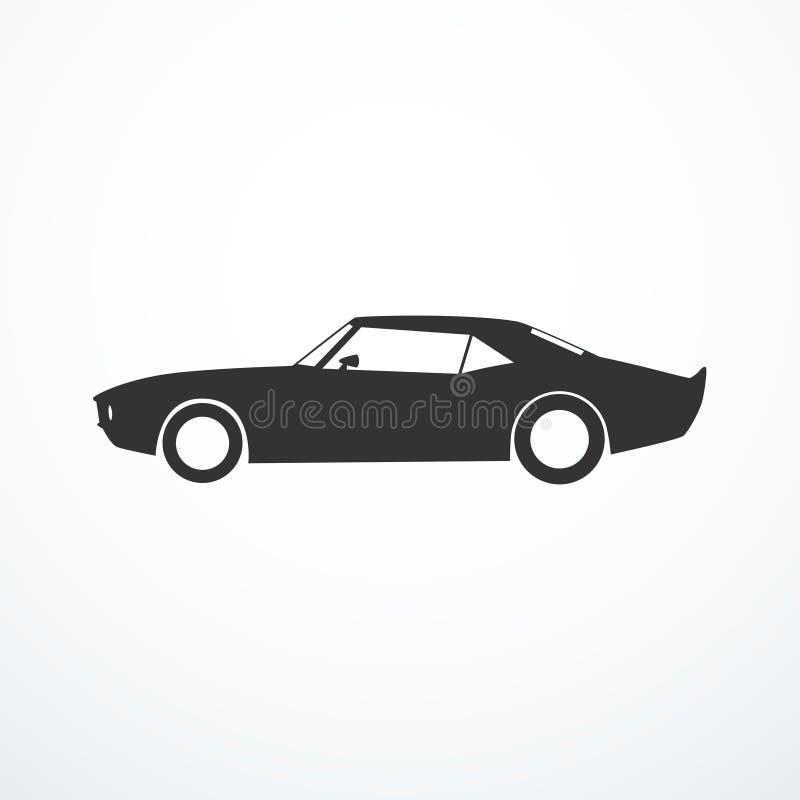 Silhuette americano do carro do músculo do vetor Vista lateral ilustração royalty free