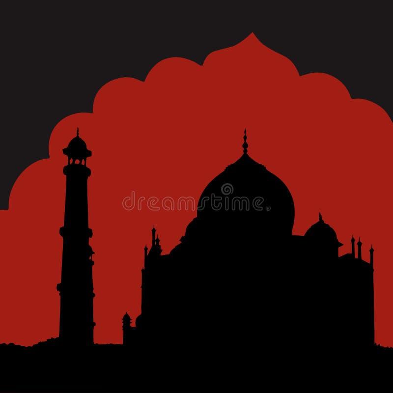 Silhuette av den Taj Mahal templet vektor illustrationer