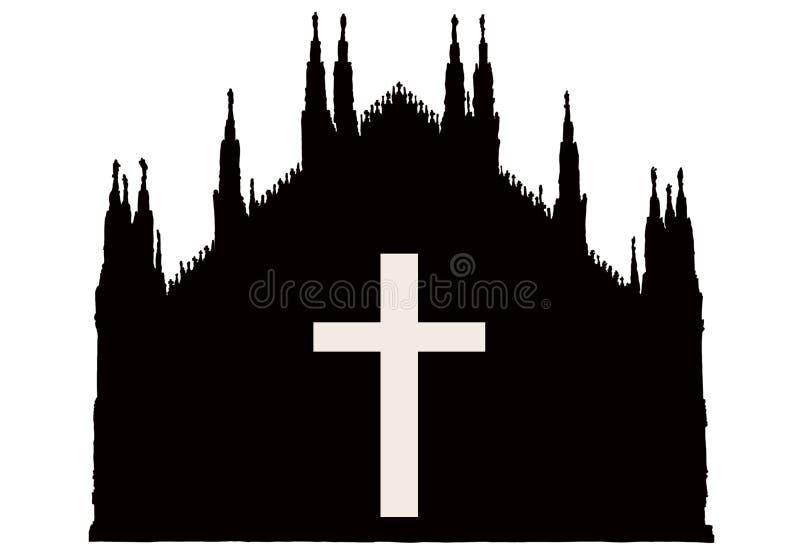 Silhuette de cath?drale gothique de Milan avec la croix illustration libre de droits