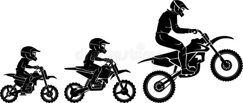 Silhuette de evolução de raças ilustração do vetor