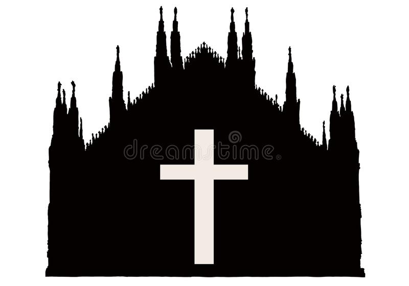 Silhuette de la catedral g?tica de Mil?n con la cruz libre illustration