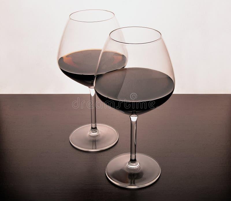 Silhuette do vermelho de vinho imagens de stock
