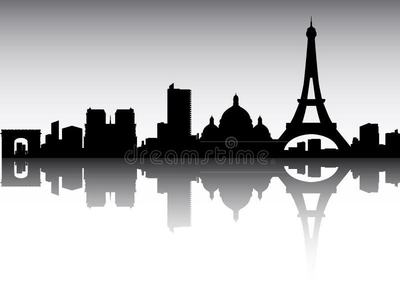 Silhuette Skyline Panorâmica de Paris, França ilustração stock