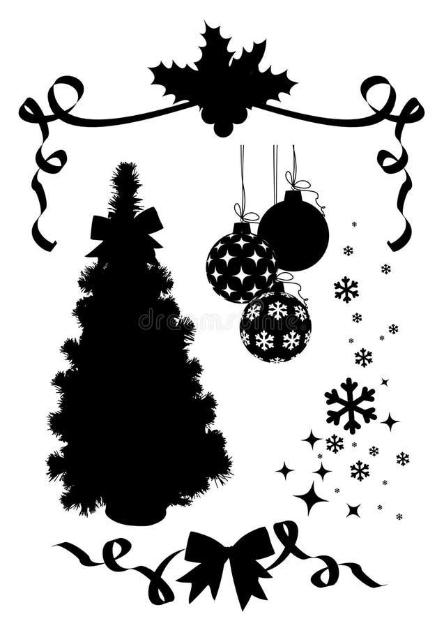 Silhuettes do Natal ajustados/vetor ilustração do vetor