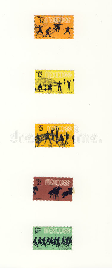 Silhuettes sport mexico stamps stock images