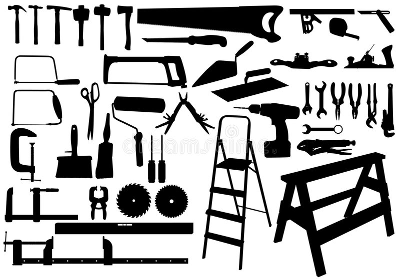 Download Silhuoette tools stock vector. Illustration of drill, measure - 7455447