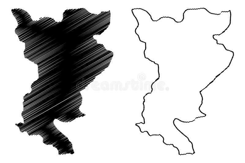 Siliana Governorate Governorates of Tunisia, Republic of Tunisia map vector illustration, scribble sketch Siliana map.  vector illustration