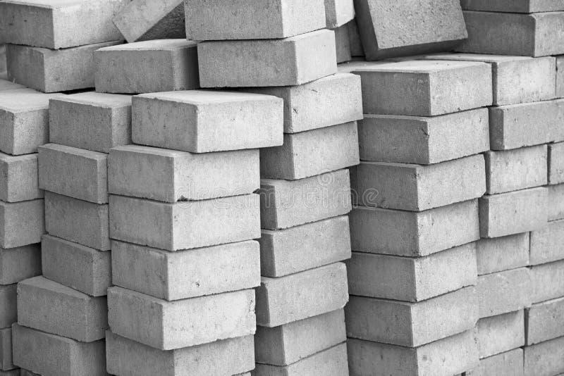 Silicate grey paving bricks in stacks stock photo