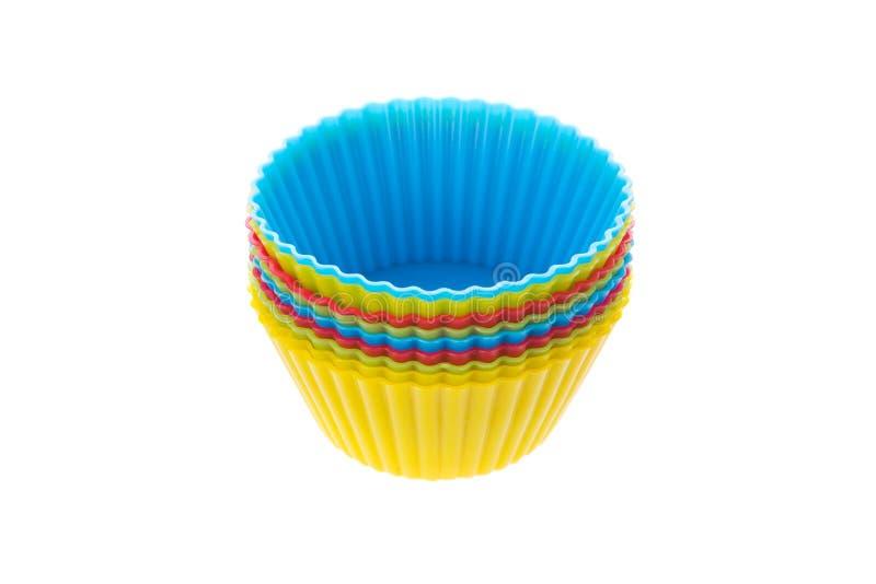 Siliciumvormen voor eigengemaakte cupcakes royalty-vrije stock afbeelding