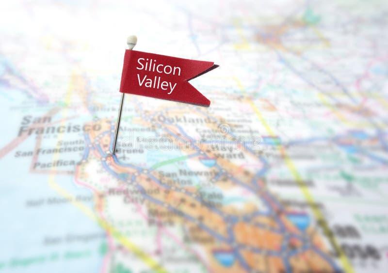 Silicon Valley översiktslocator royaltyfri fotografi