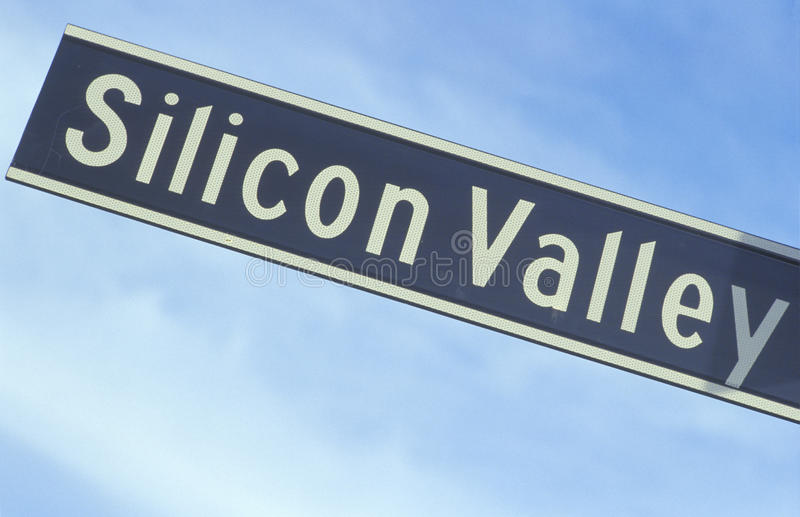 Silicon Valley vägmärke royaltyfria foton