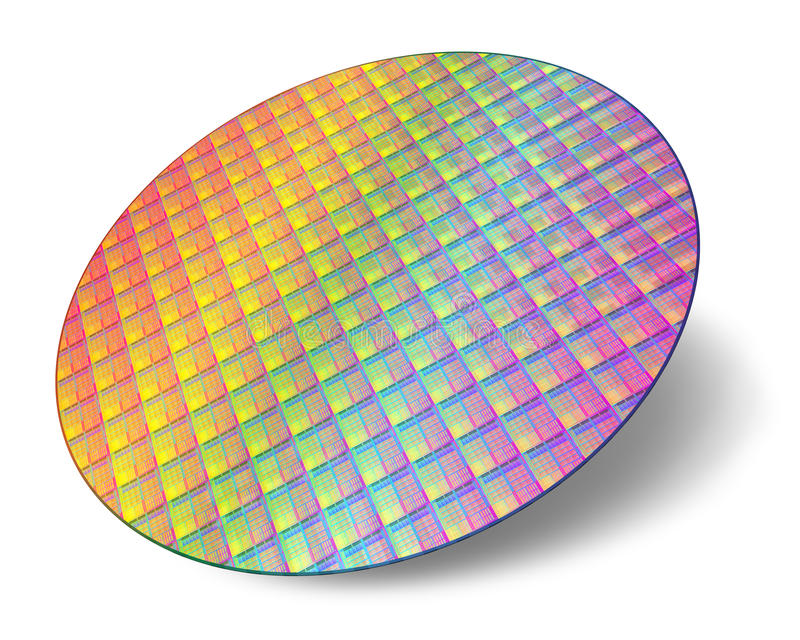 Silicon wafer with processor cores. Isolated on white background royalty free illustration