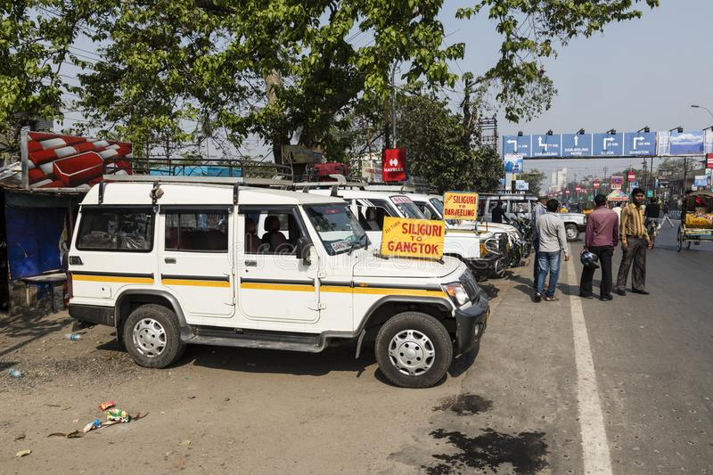 Siliguri, India, March 4 2017: Offroad cars are waiting for passengers. To travel to Gangtok in Siliguri royalty free stock photography