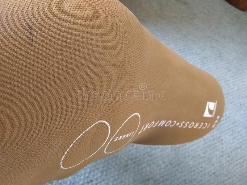 Silikon-Ärmel für künstliches Bein stockfoto