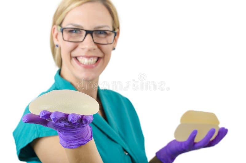 Silikonbröstimplantat fotografering för bildbyråer