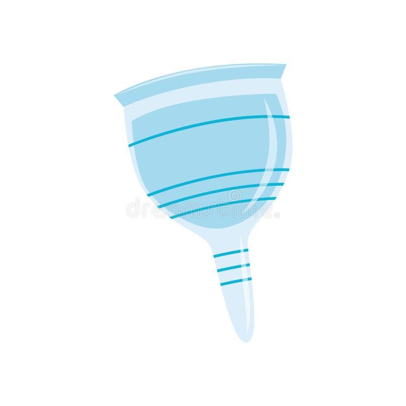 Silikonmenstruationsschale in der flachen Art lokalisiert auf weißem Hintergrund stock abbildung