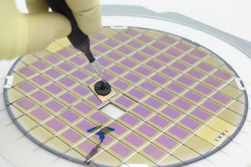 Siliziumscheibe mit den Mikrochips, geregelt in einem Halter mit einem Stahlrahmen auf einem grauen Hintergrund nach dem Prozess  stockfotografie
