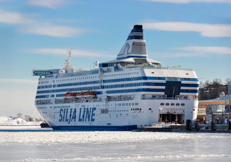 Silja Line skepp i Helsingfors port, Finland arkivfoto